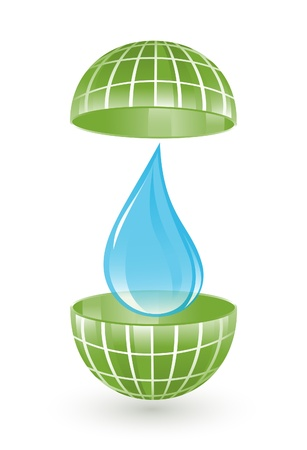 save planet: Green globe with water drop