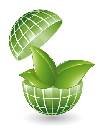 save planet: Green globe with plant