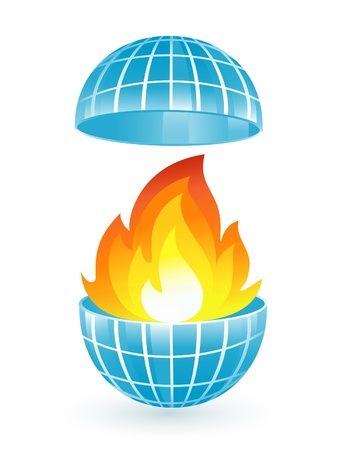 Abstract blue globe with fire flames Vector