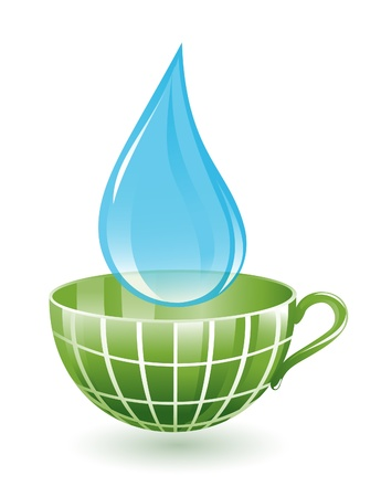 Drop and cup as green globe Vector
