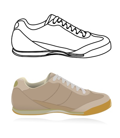 rubber sole: Sketch of casual shoe, sneakers