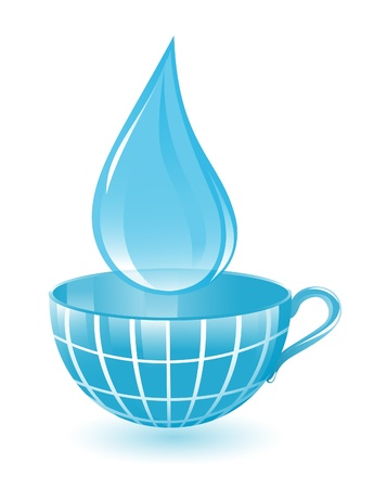 Drop and cup as blue globe Vector
