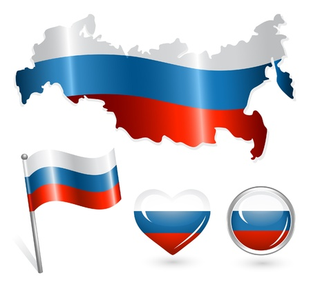 russia flag: Set of Russia map, flag and buttons