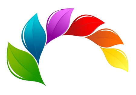desechos organicos: Naturaleza elemento de dise�o en colores del arco iris Vectores