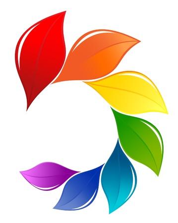 raccolta differenziata: Natura elemento di design nei colori dello spettro