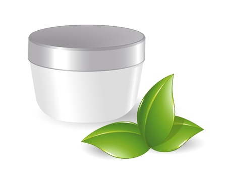 body fluid: Blank cosmetic container with green leafs