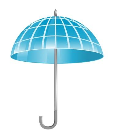 Blue globe as umbrella Stock Vector - 13705746