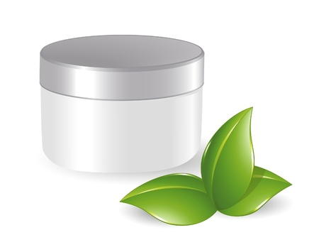a jar stand: Blank cosmetic container with green leafs