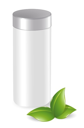 shampoo bottles: Blank cosmetic container with green leafs