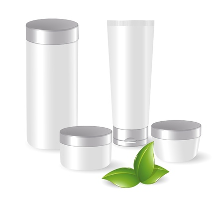 Set of blank cosmetic containers with green leafs Illusztráció