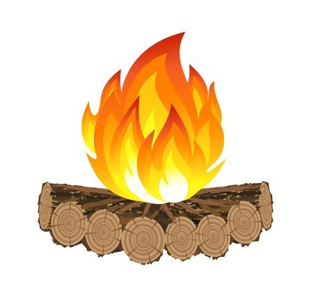 camp de vacances: Feu de camp en bois