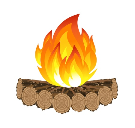 camp: Wooden camp fire