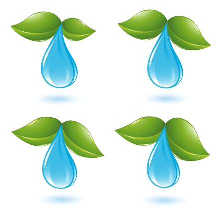 Water drop with leafs Stock Vector - 14008473