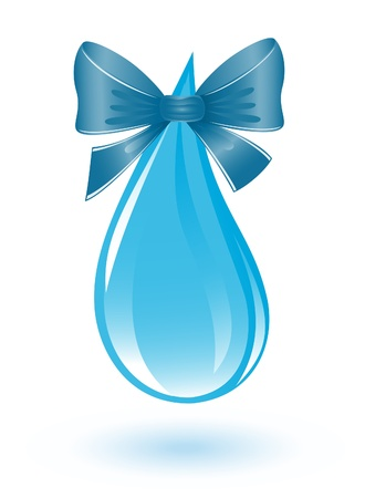 safe water: Water drop with ribbon Illustration
