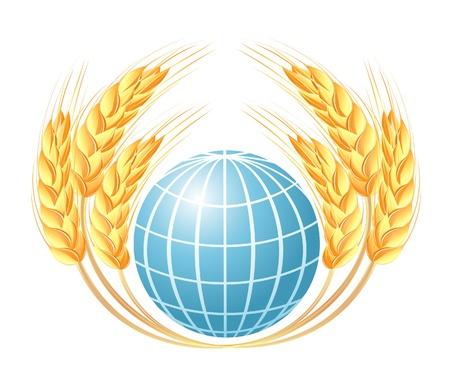 Mundo abstracto con las espigas de trigo