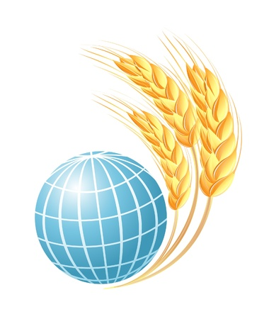 Abstract globe with wheat ears Stock Vector - 14008481