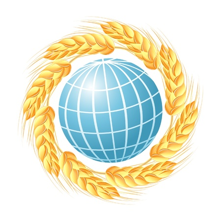 Abstract globe with wheat ears Stock Vector - 14008495