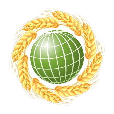 Abstract green globe with wheat ears Stock Vector - 14008502