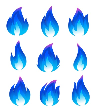 blue flames: Collection of blue fire icons