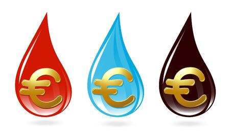 Set of drops with euro sign Vector