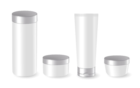 cosmetic cream: Set of blank cosmetic containers Illustration