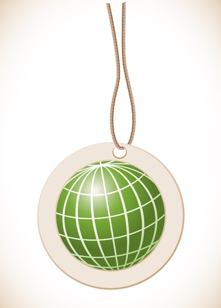 Green globe, Label with cord Vector