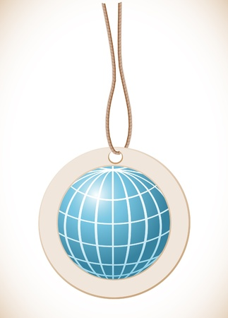 Blue globe, Label with cord Vector