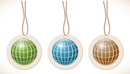 Globe, set of labels with cord Vector