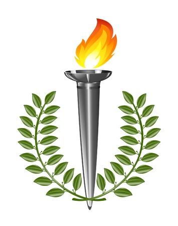 torch flame: Torch with laurel wreath Illustration