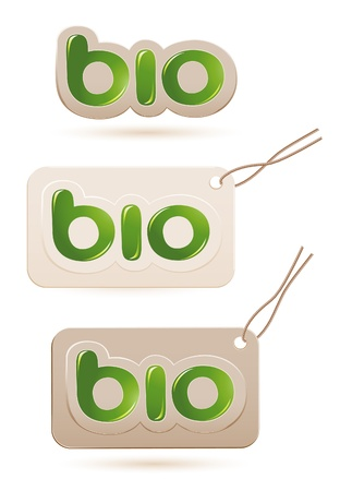 Set of labels bio sign Vector