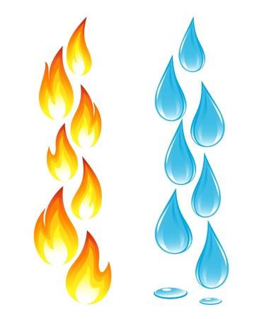 flowing water: Colecci�n de iconos de fuego y gotas de agua Vectores