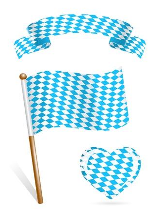 Conjunto de iconos de la bandera de Baviera Ilustración de vector