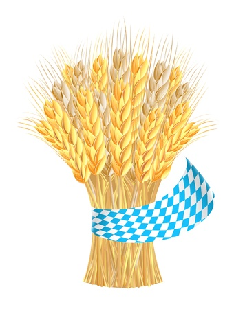 Sheaf of wheat ears with ribbon in bavarian colors