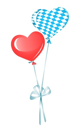 Two heart balloons, red and in bavarian colors Stock Vector - 14509083