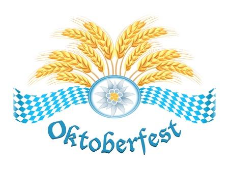 Oktoberfest celebración diseño con orejas de edelweiss y el trigo