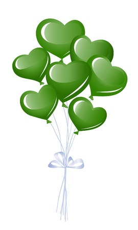 Green heart balloons Vector