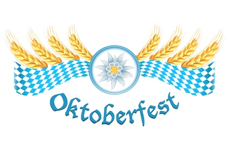 Oktoberfest celebration design with edelweiss and wheat ears Vector