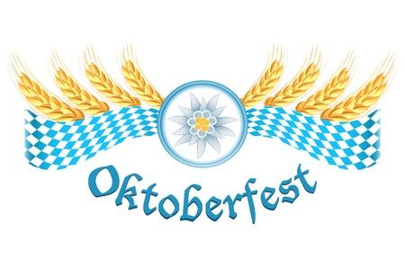 bavarian: Oktoberfest celebration design with edelweiss and wheat ears