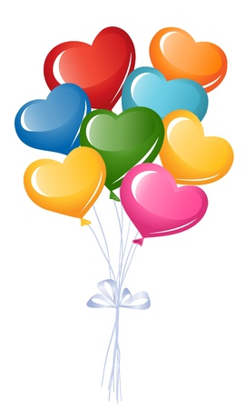 Bunch of colorful heart balloons Vector