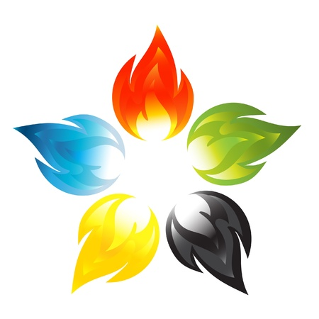 flower power: Fire flower sign with the colors of the five continents Illustration