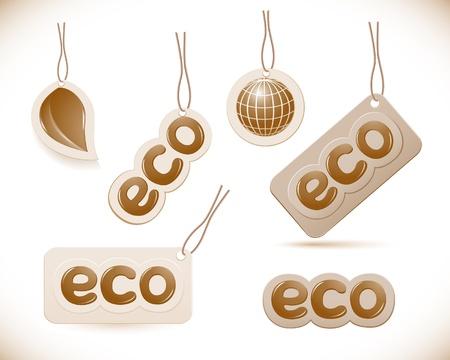 Set of labels eco sign Vector