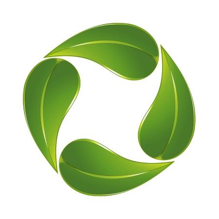 recycling symbol: Green leaf icon Illustration