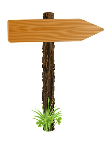 Blank wooden pointer, sign board with grass Vector