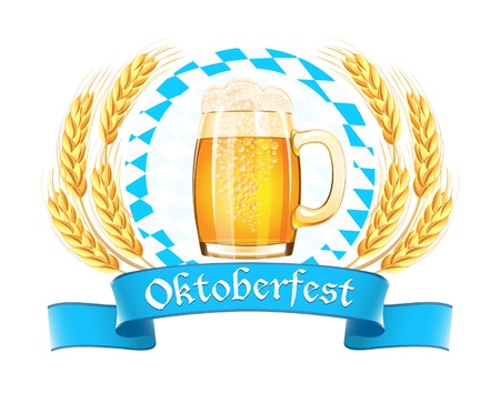 octoberfest: Oktoberfest banner with beer mug and wheat ears