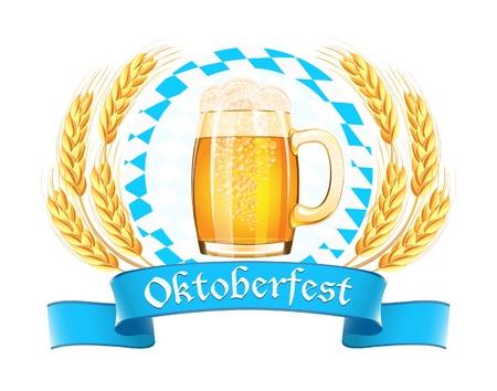 octoberfest: Oktoberfest pancarta con cerveza taza orejas y el trigo Vectores