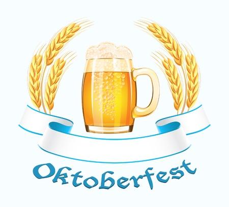 Oktoberfest baner z uszu kubek i pszenicy piwa