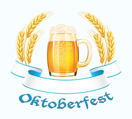 oktoberfest: Oktoberfest banner with beer mug and wheat ears