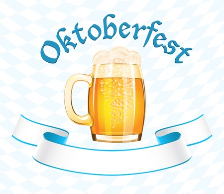 octoberfest: Oktoberfest bandera con la taza de cerveza