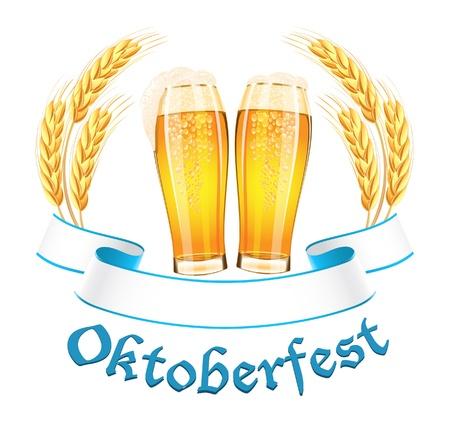Oktoberfest bannière avec deux verres de bière et épis de blé Vecteurs