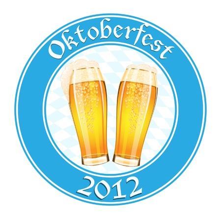 Oktoberfest banner with two beer glass Vector